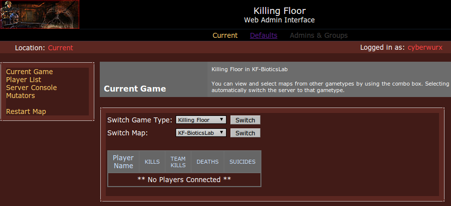 Killing Floor Web Admin Cyberwurx Customer Wiki